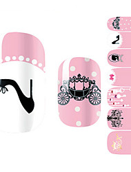 28PCS Black High Heels Gentlewoman Design Nail Art Stickers