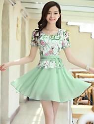 Women's Print Green/Orange Dress , Print Round Neck Short Sleeve