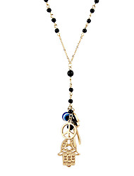 Fashion Texture Beads Hand Eye Multielement Antique Black Beads Pendent Necklace