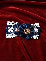 White Lace Black Satin 10cm Bow Aristocrat Lolita Barrette avec Crystal Button