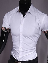 Men's Solid Casual Shirt,Cotton Blend Short Sleeve Black / White