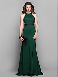 Formal Evening Dress - Dark Green Plus Sizes Sheath/Column Jewel Sweep/Brush Train Stretch Satin