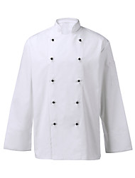 Restaurant Uniforms White Long Sleeve Chef Coats with Double-Breasted Buttons
