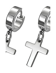 Урожай серебряный крест титана стали серьги падения (1 шт)