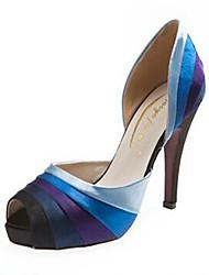 Women's Shoes Silk Stiletto Heel Heels / Peep Toe / Platform Sandals Wedding / Party & Evening / Dress Blue