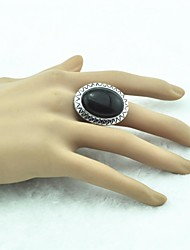 Toonykelly® Vintage Female Tibet Alloy Black Stone Adjustable Ring (Green)(1pcs)