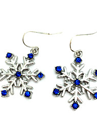 Frozen Elsa Queen Royal Snowflakes Blue Gemstone Earrings Cosplay Accessory