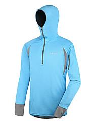 AMADIS Azul poliéster de manga larga Anti-UV Pesca con capucha