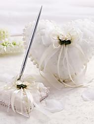 Cetim e tule casamento Conjunto de coleta com imitação de pérolas e flores (2 peças)