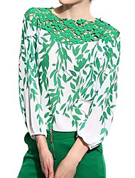 Women's Bateau Leaves Print Chiffon Blouse