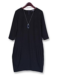 Women's Casual / Plus Sizes Solid Loose Dress , Round Neck Above Knee Polyester