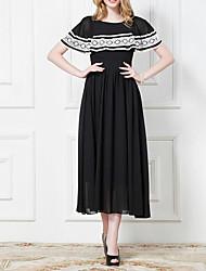 Yamei Frauen Round Neck Lace bodenlangen Kleid