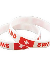Switzerland Flag Pattern 2014 World Cup Silicone Wrist Band