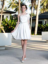 Lan Ting A-line/Princess Plus Sizes Wedding Dress - Ivory Knee-length One Shoulder Satin Chiffon