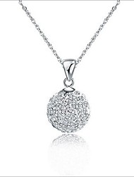 Diamond Ball Pendant Silver Plated With Diamond Necklace(1pc)