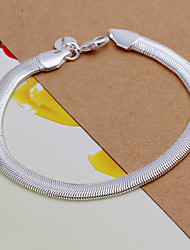 Domineering Cool Men's Oblate Soft Snake Bones Brass Silver Plated ID Bracelet(Silver)(1Pc)