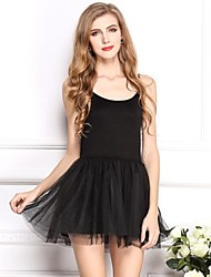 Women's Solid Black Dress , Party/Cute/Sexy U Neck Sleeveless Pleated