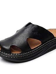 Men's Summer Platform Comfort Calf Hair Outdoor Casual Platform Black Brown