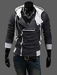 nono hooded oblíqua zipper cardigan (cinza escuro)