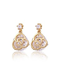 Dang Dang Women's Fashion Jewelry Plated 18K Gold Earrings Crystal Three Colors ERZ0498