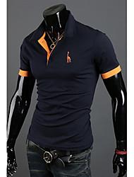 nono  Deer Embroidery Short Sleeve Polo Shirt (Navy Blue)
