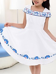 Girl's New Classic and Morden Style Children Chinese Blue-and-white Porcelain Princess Dress