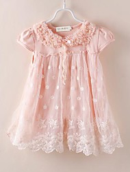 Girl's Jacquard Tee,Cotton / Lace Summer Pink / White
