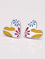 AS 925 Silver Jewelry  Multi color combination Heart Earrings