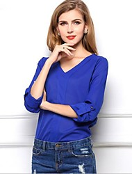 Women's Solid Blue Blouse/Shirt , Casual/Work V Neck Long Sleeve