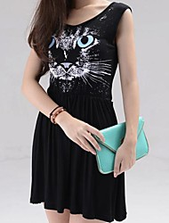 Women's Animal Cat Print Elastic Waist Sleeveless Casual Tank Dress