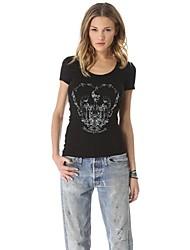 Col rond des femmes de crâne imprimé T-shirt Slim