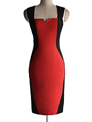 Women's Work Sheath Dress,Color Block Square Neck Midi Sleeveless Blue / Red / Green All Seasons