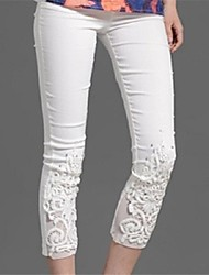 Women's White/Black/Blue Elegant Lace Flower Embroidery Slim Pants
