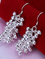 Simple Grape Shape Silver Plated Foreign Trade Earring(Silver)(1Pair)