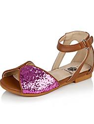 Flat Heel cuoio della ragazza sandali Comfort con paillettes e Magia Shoes nastro (altri colori)