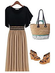 Mifeier European Knitting Chiffon Slim Dress(Black)-1268