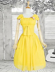 Yellow Short Sleeves Empire Waistline Cotton Sweet Lolita Dress