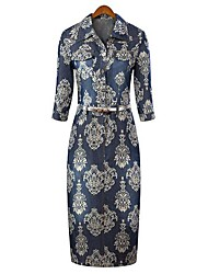 Women's Dresses , Denim Bodycon/Casual/Print/Work ½ Length Sleeve Maipinku