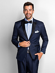 Dark Blue Polyester Standard Fit Two-Piece Tuxedo