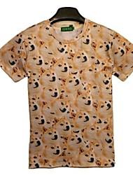 Herren T-shirt-Druck Freizeit Baumwolle Kurz-Mehrfarbig