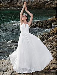 Lanting Bride® Sheath / Column Plus Sizes / Petite Wedding Dress - Chic & Modern / Elegant & Luxurious Open Back Floor-length Halter