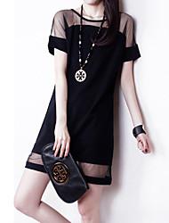KICAI  Mesh Chiffon Splicing Bodycon Dress(Black)