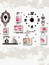 White Photo Frame Set of 6  with Wall Sticker & Wall Clock