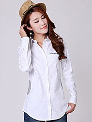 Women's Solid White/Yellow Blouse , Shirt Collar Long Sleeve