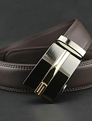 Moda Uomo Brown Genuine Leather Automatic Belt Buckle