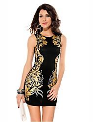 Clásico Mini Vestido estampado de la Mujer