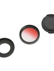 37mm Graddually Filtro + Kit parasol + tapa del objetivo para GoPro Hero 3/3 + - Rojo