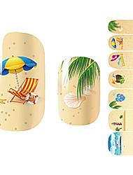 28PCS Cartoon Sandbeach Design Nagel-Kunst-Aufkleber