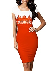MIUSOL Frauen Shirt Scoop Neck Kontrast-Taille mit gestickter Spitze, figurbetontes Kleid