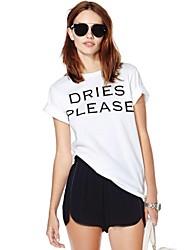 Haoduoyi ™ La Dries S'il vous plaît Imprimer T-shirt lâche col rond